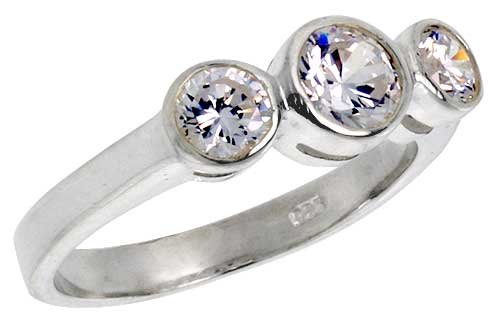 Sterling Silver Cubic Zirconia 3-Stone Ring Brilliant Cut 1 Ct Center Bezel Set, Size 8