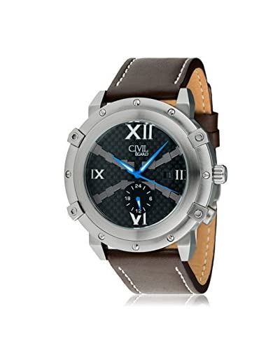 Egard Men's CVL-RDE-STL Renegade Brown/Black Stainless Steel and Leather Watch