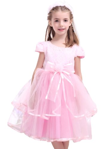 Landybridal 2013 New Style Size Us3 Charming A Line Tank Top Tea Length Tulle Pink Girls Formal Party Dress G12017