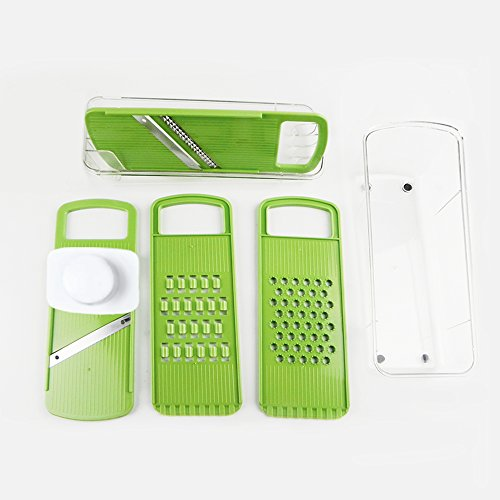 Chef's Cutter Set Slicer and Grater Set with 4 Blades/Graters, Vibrant Green (1second Slicer Chopper compare prices)