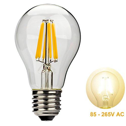 Leadleds 6W A19 LED Filament Light Bulb Edison Style E27 Medium Base 85 - 265V AC to Replace 60 Watt Incandescent Bulb, Warm White Light (Edison Bulb Chandelier E26 compare prices)