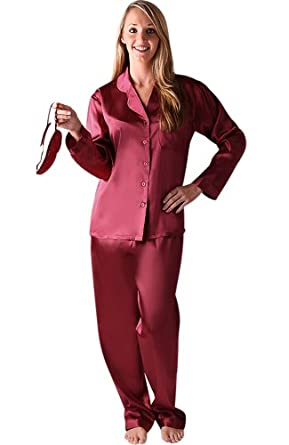 Del Rossa Women's Classic Satin Pajama Set - Long Pjs, Small Burgundy (A0750BRGSM)