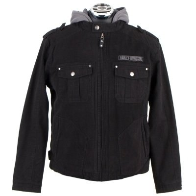 Skull 3-in-1 Cotton Canvas Jacket - Black/Grey - Harley Davidson Men's