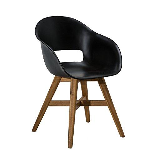 Gartenstuhl-Kunststoff-Sitzschale-Schwarz-Holz-Beine-Akazienholz