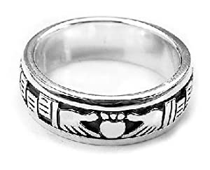 Sterling Silver Celtic Claddagh Irish Wedding Band Spin Ring Size 4