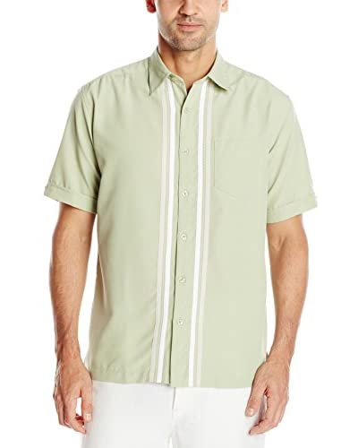 Cubavera Men's Short Sleeve Texture Tri-Color Panels with Pickstitch Shirt