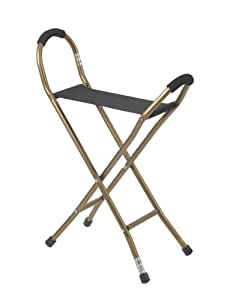 Drive Medical Drive Medical Deluxe Folding Aluminum Cane with Sling Style Seat, Bronze
