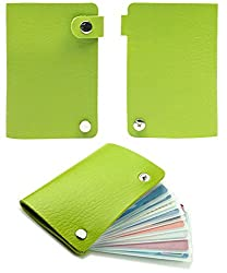 10 Slot Credit Card Wallet Style Holder with Snaps (Green)