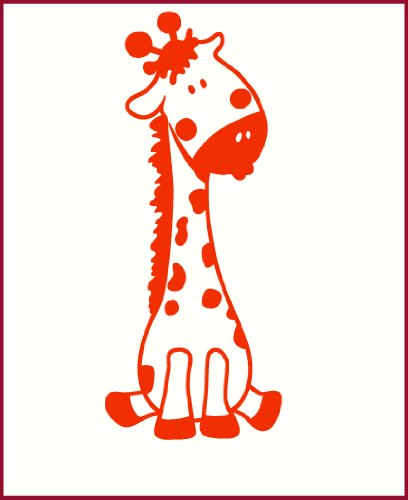 Wall Decor Plus More Baby Giraffe Wall Sticker for Nursery or Child's Room Decor Vinyl Decal 24x10 Orange Orange