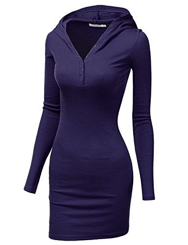 Doublju Womens Soft Button Long Sleeve Mini Dress MIDNIGHTBLUE,2XL (80s Fancy Dress Plus Size)