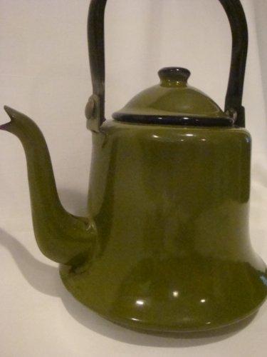 Vintage Enamel Avocado Green Tea Pot Enamel Vintage Teapot Tea Kettle
