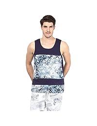 Atores Mens Navy Printed Cut And Sew Casual Sandos