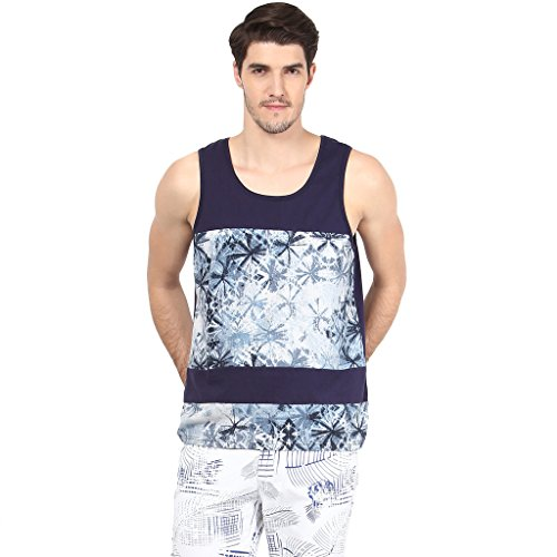 Atores Mens Navy Printed Cut And Sew Casual Sandos
