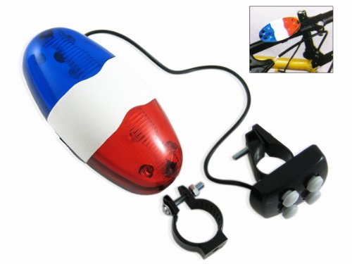 Police Sound 4-Melody Bicycle Power Horn Siren with 6-LED Red Flashing light