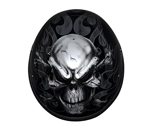Custom Designed Novelty Motorcycle Helmet with Skull and Crossbones (Size L, LG, Large)