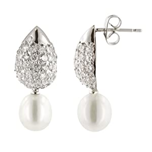 Rhodium Plated Brass Pave Tear Drop Earrings with White Freshwater Pearls