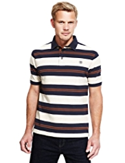 Blue Harbour Pure Cotton Striped Piqué Polo Shirt