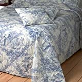 toile de jouy blue quilted bedspread available in 3 sizes pillow shams