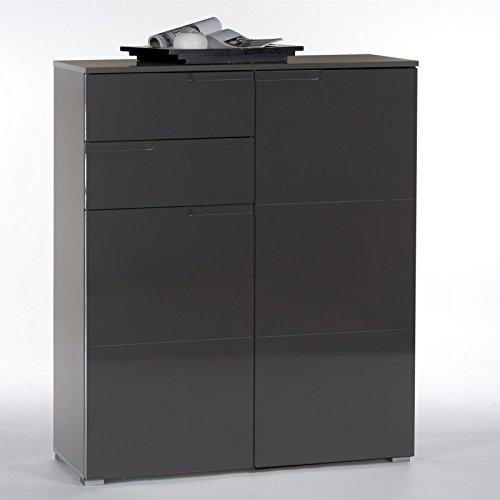 Kommode-Sideboard-MONA-100-cm-breit-grau-mit-Hochglanzfronten-Schublade-Tren-inkl-Einlegebden