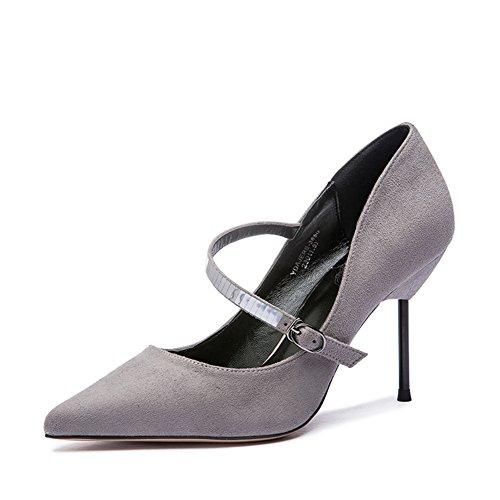 Lady autunno moda leggero scrub fibbia sparkle scarpe/Scarpe tacco alto a spillo-B Lunghezza piede=23.8CM(9.4Inch)