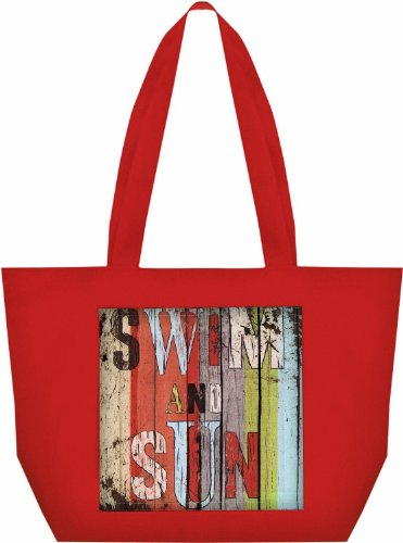 Manual Woodworkers & Weavers Fabric Beach Tote with Climaweave Swim and Sun Design, 20 by 14-Inch