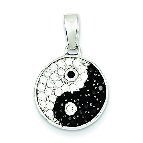 Sterling Silver Rhodium Plated Cz Black/White Yin Yang Pendant