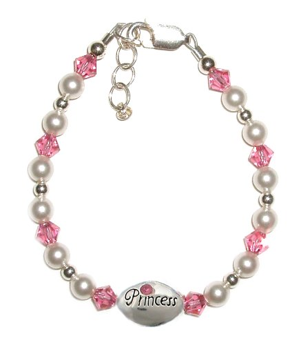 Princess 2 Sterling Silver Childrens Girls Bracelet Jewelry pearls and pink crystals is accented with an adorable