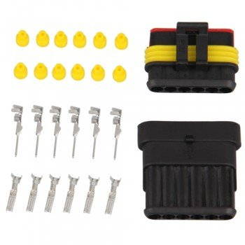 10 Kit 6 Pin Way Waterproof Electrical Wire Connector Plug