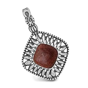 Relios Sterling Silver Red Sponge Coral Pendant Enhancer