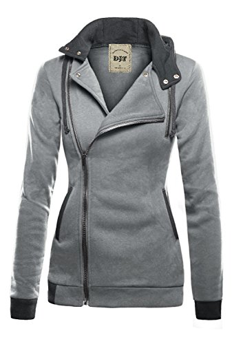 DJT Womens Oblique Zipper Slim Fit Hoodie Jacket Small Light Grey