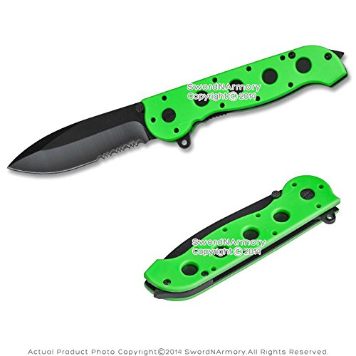 Assisted Opening Tactical Folding Knife with Glass Breaker Handle Zombie Green