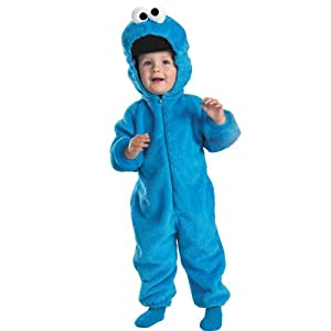 Cookie Monster Deluxe Two-Sided Plush Jumpsuit Costume - Medium (3T-4T)