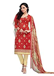 Craftliva Red Embroidery Cotton Jacquard Dress Material