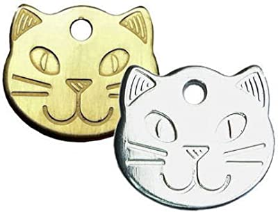 Personalised Solid, Durable Cat Head Pet ID Tag Disc (ENGRAVED FREE)