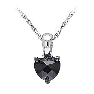 1/2 ct. tw. Black Diamond Solitaire Heart Pendant in 10K White Gold