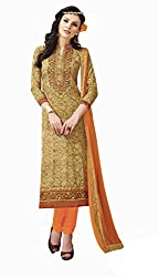 Jiya Presents Embroidered Cotton Dress Material (Beige,Orange)