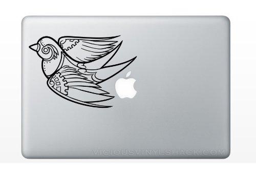 Fancy Steam Punk Flying Bird Gears MacBook Laptop Apple Vinyl Decal Sticker Swine Window Car Machine Time Clock Parts Car Engine Turning Vintage Industrial Flock (Steam Sticker compare prices)