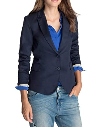 ESPRIT Damen Blazer 993EE1G900, Gr. 34 (XS), Blau (406 CINDER BLUE)