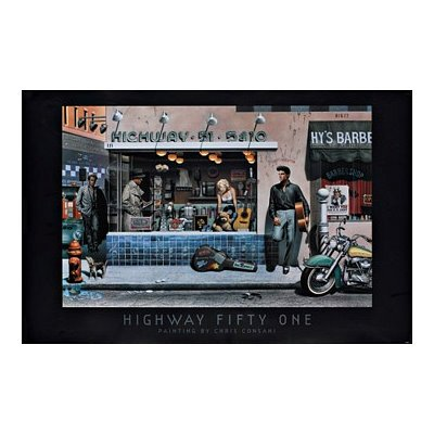 Chris Consani Highway 51 Marilyn Monroe James Dean Humphrey Bogart Elvis Presley Art Poster - 24x36