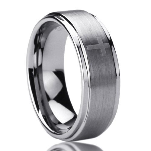 Unisex Men'S 8Mm Titanium Comfort Fit Wedding Band Ring Laser Etched Cross Pattern Ring (8 To 14) - Size: 8