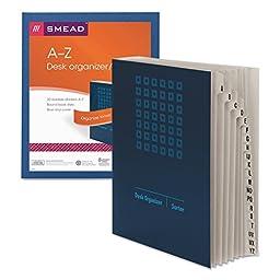 Deluxe Expandable Desk File, A-Z Index, Letter Size, Pressboard, Navy Blue