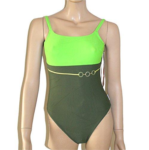 Solar Damen Badeanzug oliv dunkelgrün hellgrün Gürtel Applikation Gr 38