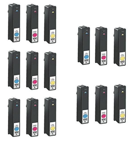15/Pack 100xl 5C/5M/5Y Color Ink Cartridges for Lexmark Compatible with: Prospect Pro 205 Pinnacle Pro 901 Platinum Pro 905 Impact S305 Institution S505 (Platinum Pro905 compare prices)