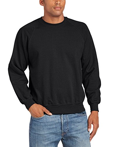 Fruit of the Loom Raglan Sweatshirt - Felpa a manica lunga da uomo, nero (black), L