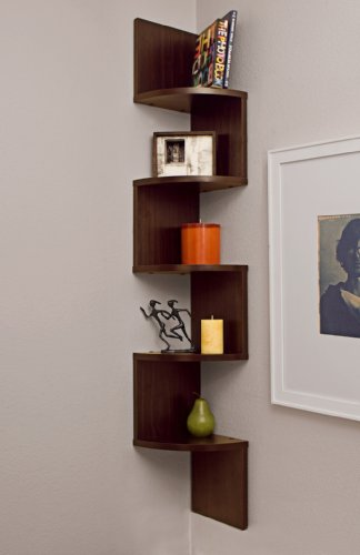Danya B. Large Corner Wall Mount Shelf - Walnut Furniture
