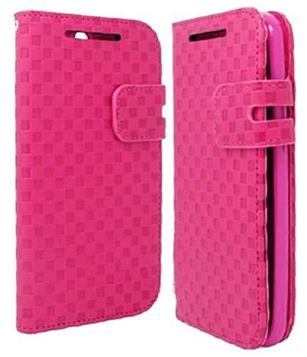 Mylife Shocking Ultra Pink {Checkered Print Design} Faux Leather (Card, Cash And Id Holder + Magnetic Closing) Slim Wallet For The All-New Htc One M8 Android Smartphone - Aka, 2Nd Gen Htc One (External Textured Synthetic Leather With Magnetic Clip + Inter