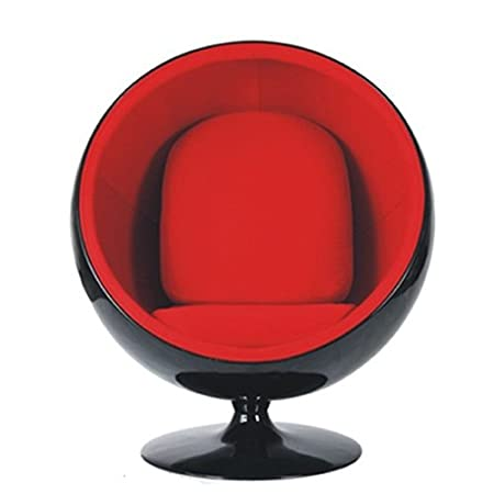 Home Elements Red Velvet Ball Chair, Black
