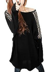 Allegra K Women Leopard Batwing Sleeve Loose Fit Top Tunic T Shirts