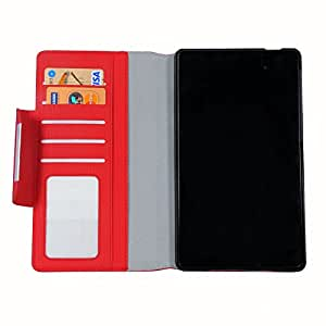 LEAF Asus Nexus 7 2nd Gen Flip Cover, Leather Flip Cover Wallet Case With Magnetic Closure -Red