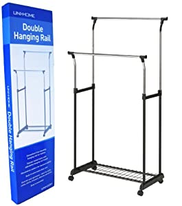sturdy double clothes rail extra wardrobe space amazon. Black Bedroom Furniture Sets. Home Design Ideas